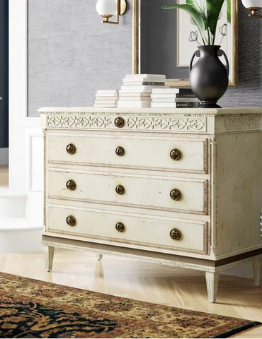Large Gustavian 4-Drawer Dresser In Beech Wood With Hand-Carved Details In Antique Ivory Distressed Finish by Modern History Home