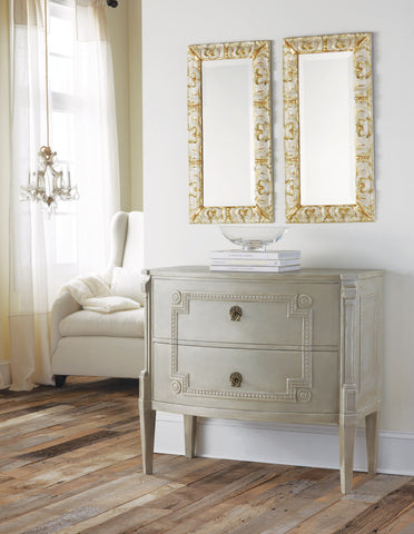 Bowfront Gustavian Hand-Painted Chest With Key Pull Handles by Modern History Home