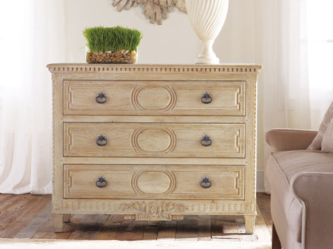 Weathered Oak Chest With Detailed Carvings, 3 Drawers With Interior Oak Wood-Stain by Modern History Home