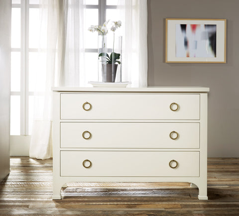Ivory 3-Drawer Dresser With Wood Glides and Solid Brass Ring Pulls by Modern History Home
