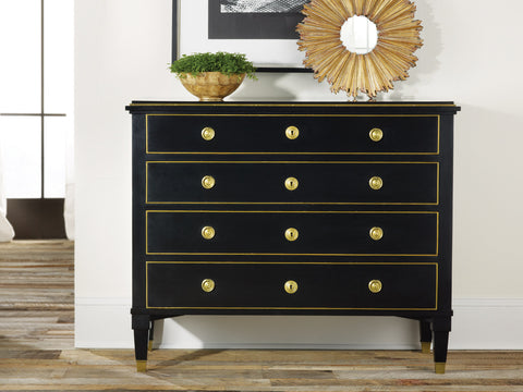 4-Drawer Solid Wood Chest in Three Colors: Ebony, Cream, Burl by Modern History Home