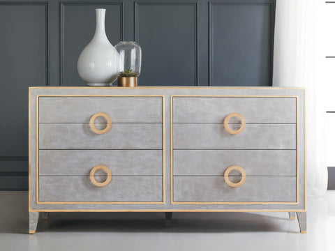 8-Drawer Solid Wood Double Dresser in Cream/Gold, Antique Grey/Gold by Modern History Home