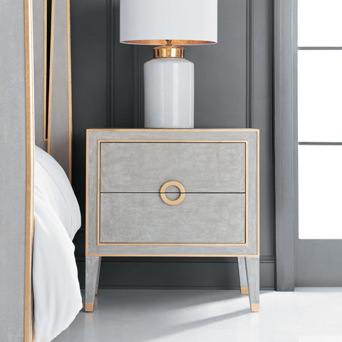 Retro Nightstand In Antique Cream Or Grey With Gold Leaf Trim by Modern History Home