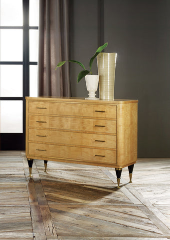 Mid-Century 4-Drawer Chest In Sycamore Wood With Solid Brass Legs by Modern History Home