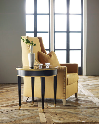 Tuxedo End Table With Antique Mirror Glass, Solid Brass Banding by Modern History Home