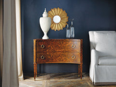 2-Drawer Concave Burl Commode With Antique Brass Ring Pulls by Modern History Home
