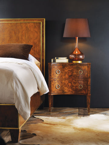Walnut Burl 2-Drawer Nightstand With Antique Brass Hardware by Modern History Home