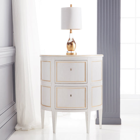 Scottish Demilune 2-Drawer Nightstand In Antique White And Gold Leaf by Modern History Home