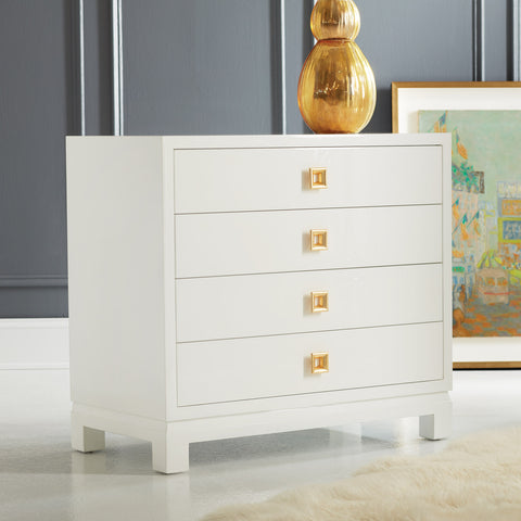French 4-Drawer Bachelor Chest In Walnut Or White w/Gold Leaf Hardware by Modern History Home