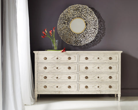 Paris 8-Drawer Double Dresser in Okume Wood With An Ivory Finish by Modern History Home