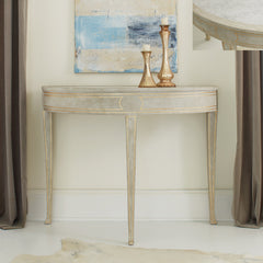 Antique Grey Foyer Table In A  Ryn Demilune Design With Carrara Marble Top Insert, Gold Leaf Details by Modern History Home