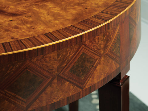 Marquetry Half-Round Console Table With Intricate Walnut, Rosewood and Maple Veneer Diamond Inlays by Modern History Home