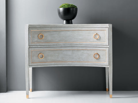 Concave Swedish 2-Drawer Chest With Gold Ring Pulls And Detailing by Modern History Home