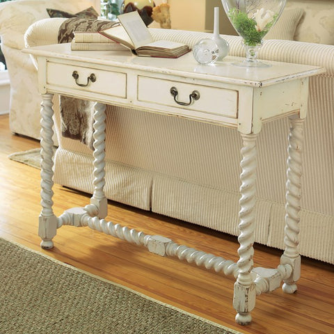 Highlands Console Complete With Unique Spiral Legs Shown In Vanilla Bean Finish by Somerset Bay