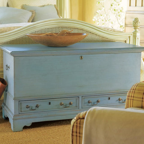 Aspen Blanket Chest Complete With Large Compartment And Two Drawers Shown In Cotton Candy Finish by Somerset Bay