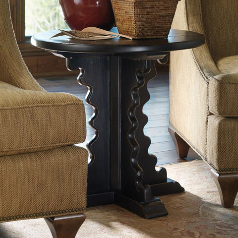 Large Jackson Hole Mahogany End Table Shown In Distressed Black Forest Finish by Somerset Bay