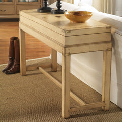 Annapolis Chart Case on Legs With Metal Details Shown in Distressed Butter Pecan by Somerset Bay