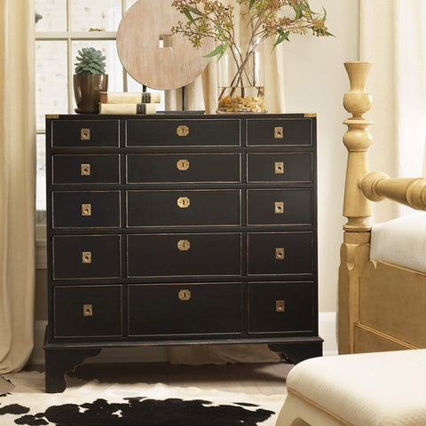 Gloucester 15-Drawer Key Chest Shown In Black Forest Finish by Somerset Bay