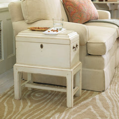 Augusta Mahogany Box On Stand Shown In Distressed Vanilla Bean Finish by Somerset Bay