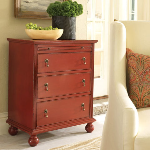 Little River 3-Drawer Chest With Tray Shown in Cherry Cobbler Finish by Somerset Bay