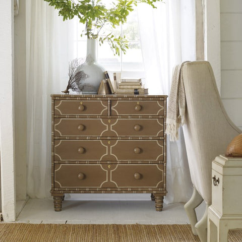 Long Key Chest With Five Dovetailed Drawers And Intricate Detailing by Somerset Bay