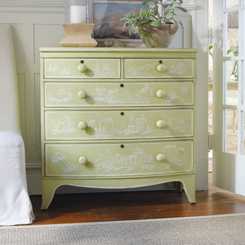 Large Topsail Bowfront Chest With Five Drawers Shown In Key Lime Pie/Powdered Sugar Finish by Somerset Bay
