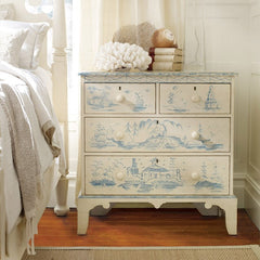 Avon 4-Drawer Mahogany Chest Shown In Distressed Vanilla Bean/Blueberry Finish by Somerset Bay