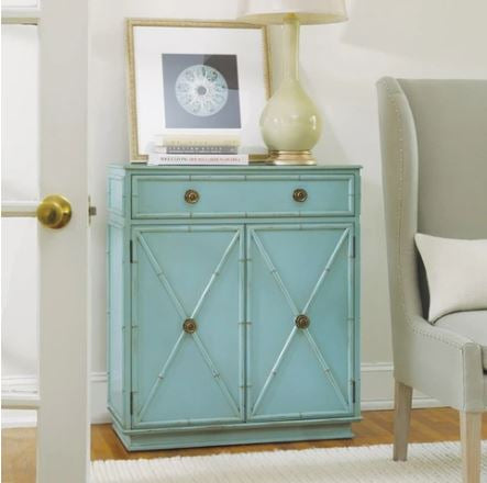 1-Drawer Beach Cabinet With Two Doors Shown in Distressed Cotton Candy Finish by Somerset Bay
