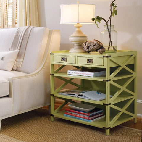 Crisfield 2-Drawer End Table With Three Shelves Shown in A Distressed Lime Finish by Somerset Bay