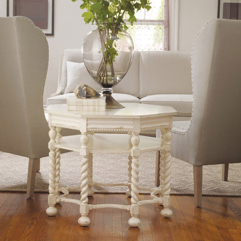 Middleton End Table With Spiral Legs Shown in Distressed Vanila Bean Finish by Somerset Bay