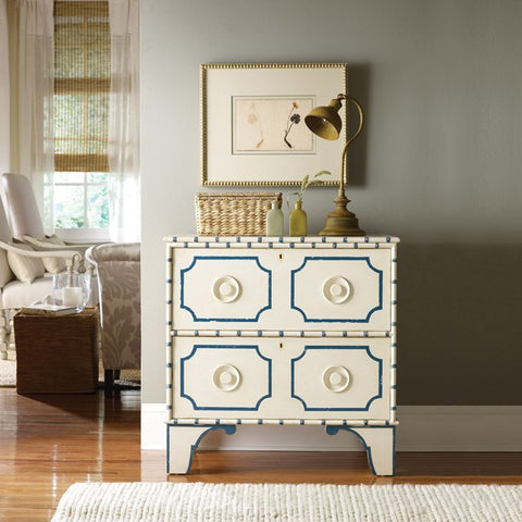 Indian Bay 2-Drawer Bedside Chest Shown In Vanilla Bean/Blueberry Finish by Somerset Bay