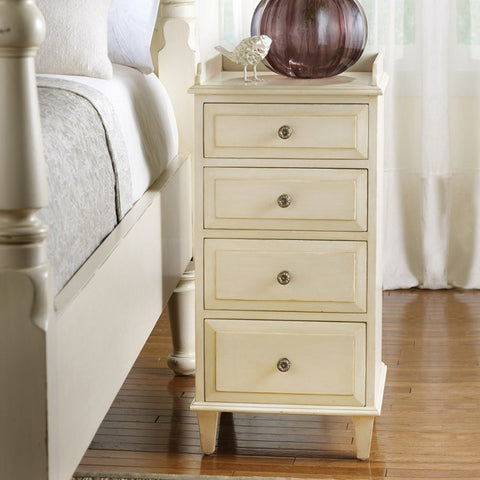 Eagle River 4-Drawer Mahogany Bedside Cabinet Shown In Distressed Vanilla Bean Finish by Somerset Bay
