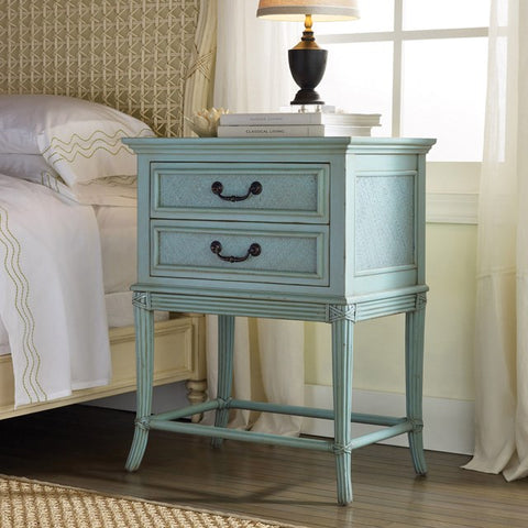 Pelican 2-Drawer Nightstand With Brass Handles and Dentil Carvings by Somerset Bay
