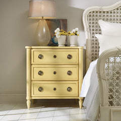 Creme Brulee' 3-Drawer Mahogany Bedside Chest With Carved Detailing by Somerset Bay