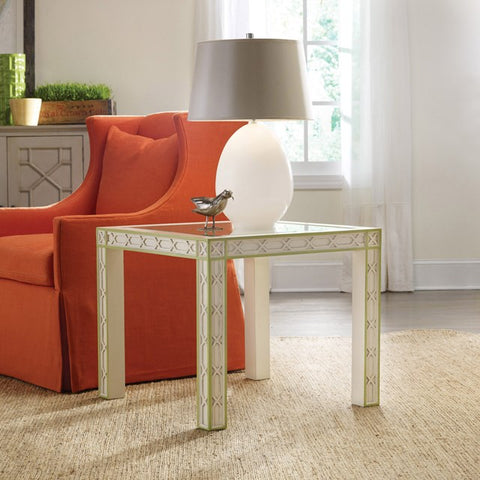 Corolla End Table Shown in Distressed Vanilla Bean With Key Lime Pie Detailing by Somerset Bay