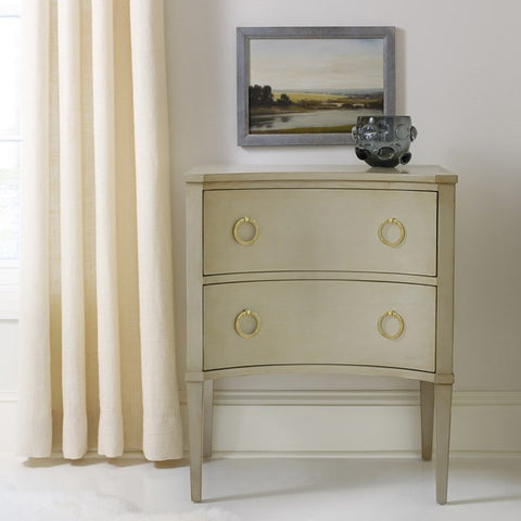 Transitional Concave Side Chest With Two Drawers Shown in Distressed Stone by Somerset Bay