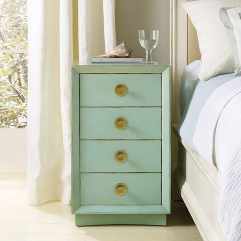 4-Drawer Nightstand With Brass Knobs Shown In Hand Distressed Pistachio Whip Finish by Somerset Bay