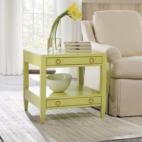 Transitions End Table With Two Drawers Shown in Distressed Key Lime Pie Finish by Somerset Bay