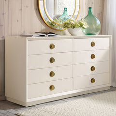 8-Drawer Double Dresser With Solid Brass Knobs Shown In Distressed Ivory Finish by Somerset Bay