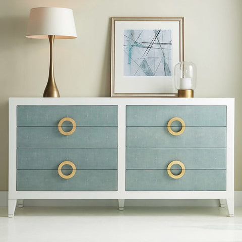 Retro Shagreen 8-Drawer Dresser With Resin Fronts And Unusual Handles by Somerset Bay