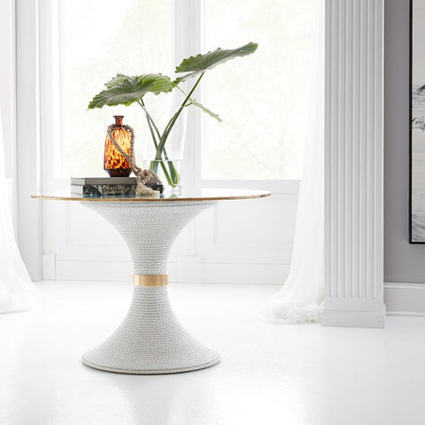 Nautical Cast Resin Dining Table-Base Only In White Finish by Somerset Bay