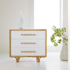 3-Drawer Painted Bedside Chest With Bamboo Detailing And Handles by Somerset Bay