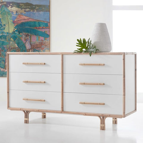 White Painted Dresser With Six Drawers, Bamboo Detailing In Handles And Legs by Somerset Bay