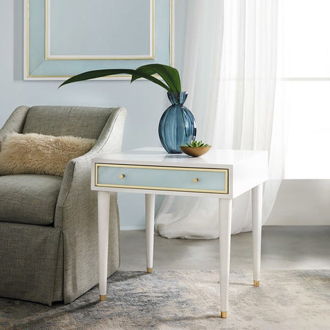 Seaglass 1-Drawer End Table With Solid Brass Detailing Matches Other Pieces by Somerset Bay