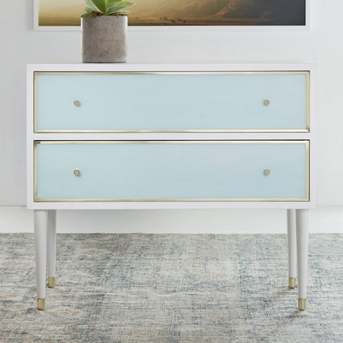 Seaglass 2-Drawer White Chest With Polished Brass Accents by Somerset Bay