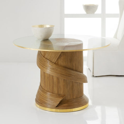 Riviera Rattan Accent Table With Polished Brass Base and Glass Top Details by Somerset Bay