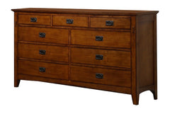 Traditional Mission Chestnut Dresser With Antique Pewter Drawer Pulls by Sunset Trading Collection
