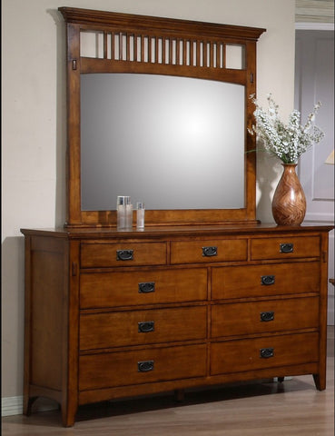 Traditional Mission 9-Drawer Dresser and Mirror Set by Sunset Trading Collection