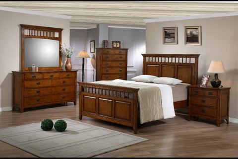 Traditional Mission Chestnut 4-Drawer Nightstand by Sunset Trading Collection
