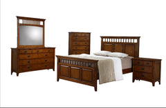 Traditional Mission 5-Piece Chestnut Bedroom Set With Antique Pewter Pulls by Sunset Trading Collection